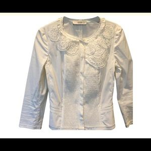 Prada white eyelet structured jacket blazer